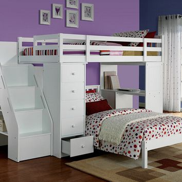 Freya collection white finish wood twin over twin loft bed with staircase and drawers