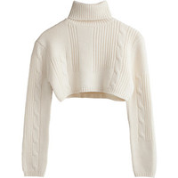 Back Cable knit crop polo Beige Light