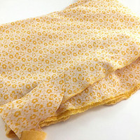 Vintage Flower Fabric Yellow Flower Fabric Yellow Polyester Fabric Yellow White Flower Fabric  Floral Fabric Quilting Sewing Craft