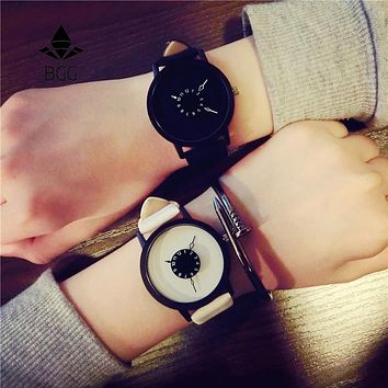 Hot creative watches women men quartz-watch 2017 BGG brand unique dial design lovers' watch leather wristwatches clock