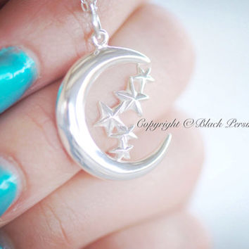 NEW - Moon & Stars Necklace - Sterling Silver Charm Pendant - Free Domestic Shipping