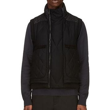 Moncler Gamme Bleu Black Wool And Quilted Down Vest