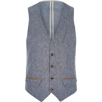 River Island MensBlue Holloway Road linen-blend vest