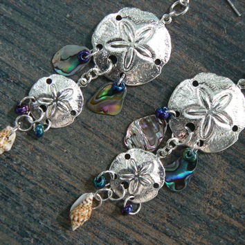 double sand dollar abalone earrings abalone seashells