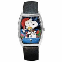 Christmas Snoopy and Woodstock with Presents on Barrel Watch w/ Leather Bands*