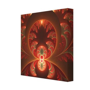 Luminous abstract modern orange red Fractal Canvas Print