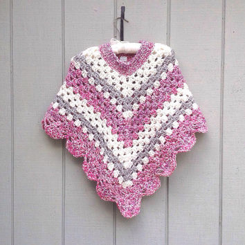 Crochet poncho for girls - Petite women poncho - Tweens retro poncho - Girls crocheted shawl