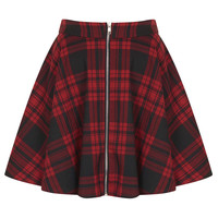 **Red Tartan Zip Front Skater Skirt by Oh My Love