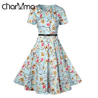 CharMma Vintage Pin Up Floral Print Dress Women O-Neck Short Sleeve A-Line with Belt Midi Dresses Plus Size Summer Robe Femme