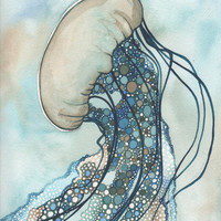 Sea Nettle Jellyfish 8.5 x 11 print of hand painted detailed watercolour artwork in whimsical earth tones
