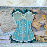 Thinking of You Just Because Friendship Vintage Corset Fashion Greeting Card, Ephemera Paper Craft, Feminine Victorian Style Note Card