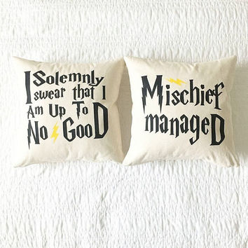 I Solemnly Swear/Mischief Managed Quote Pillows - Mothers Day Gift, Cushion Cover, Gift for Her, Home Decor, Grad Gift, Harry Potter
