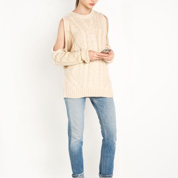 Cable Knit Cut Out Shoulder Sweater