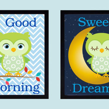 Owl Wall Art, Good Morning, Sweet Dreams, Nursery Art, Custom Print, Custom Colors, CHOOSE YOUR COLORS Nursery Decor, Kids Wall Art 8x10