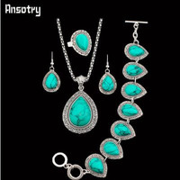 Four Piece Jewelry Set - Antique Silver Plate with Inlaid Turquoise