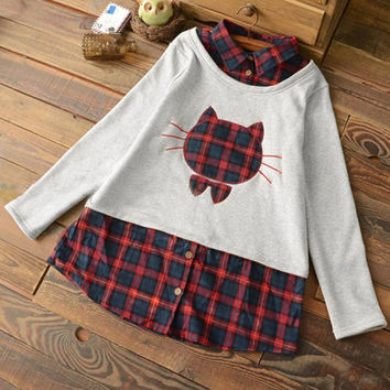 Cupshe Lovely Kitten Embroidered Plaid Sweatshirt