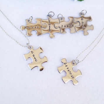 Friends Forever Personalized Puzzle Pieces Necklace(s) With Names, Important Dates, Favorite Bible Verse or Special Words