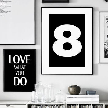 Number 8 Print, Minimalist Wall Art, Printable Art, 8, Black and White Print, Numbers Poster, Scandinavian Style Print, Affiche Scandinave