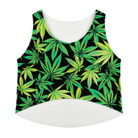 2017 New Women T Shirt Hemp leaf tanks Camis crop Tops girl Print T-shirt female weed floral Tee Tops For Women Blusas