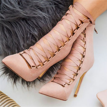2017 Women Lace Up High Heels Sandals Summer 12cm Pointed Toe Boots Fashion Pink Black Lady Party Evening Dress Wedding Shoes