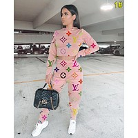 LV Louis Vuitton Hot Sale Women Casual Print Long Sleeve Top Pants Trousers Set Two-Piece Sportswear 1#
