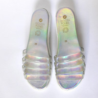 Iridescent Chunky Jelly Slide Sandals, vegan