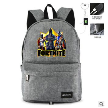Anime Backpack School Cartoon kawaii cute Fortnite USB Knapsack Teenagers Student's Backpack New USB Travel Bags Leisure Laptop bag AT_60_4