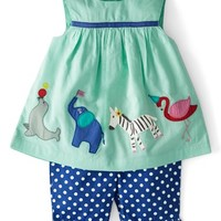 Mini Boden 'Summer Play Set' Embroidered Applique Top & Crop Pants (Baby Girls)