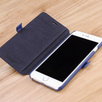 Blue Napa Genuine Leather Book Style Wallet Case for Apple iPhone 6 Plus / 6s Plus
