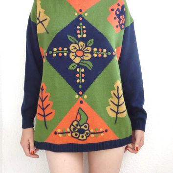 Vtg Long knitted Chunky Sweater 90s multicolor 90s sweater Warm fall sweater Floral Ugly sweater