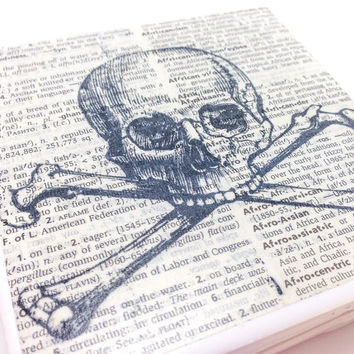 Ceramic Tile Coasters - Skull and Crossbones - Set of 4 - Upcycled Dictionary Page Book Art - Home Decor Steampunk Goth Pirate
