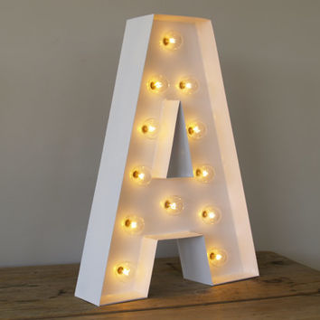 san serif a with holywood lights carnival letters light up letter lamp and marquee letter
