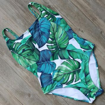 One Piece Swimsuit Tropical Style Swimwear Hwaii Backless Women  2018 Swimming Bathing Suit Swim Suit Bodysuit New Style Design