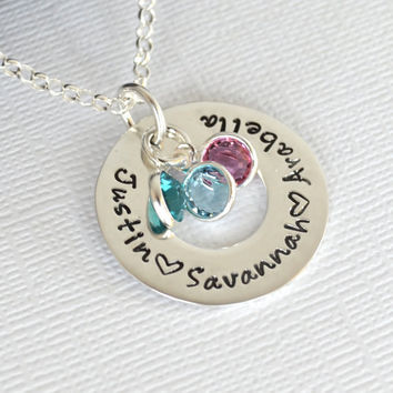 Personalized Mother's Necklace Circle Hand-Stamped with Three Children's names and birthstones.