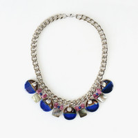 Statement Necklace made of Blue Ceramics Beads, Shells, Raw Pink Tourmaline, High Fashion