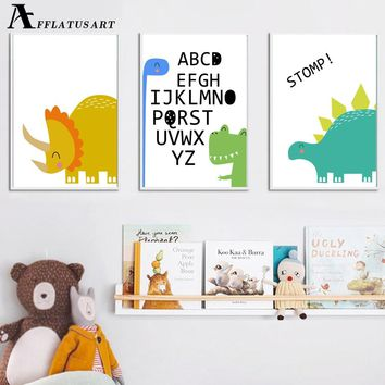 Cartoon Rhino Dinosaur Quotes Wall Art Canvas Painting Posters And Prints Nordic Poster Animals Wall Pictures Kids Room Decor
