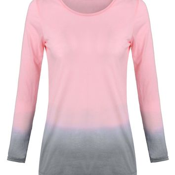 Women T-Shirt Autumn Spring Lady Casual Round Neck Long Sleeve Cotton Top Tees Shirt Female Gradient Color Tshirts Plus Size 6XL