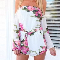 White Long Sleeve Floral Print Romper