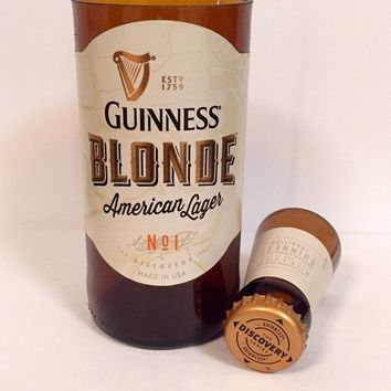2c6ea9d392 Guinness Blonde Beer Bottle Shot Glass Chaser Set. Gift Idea. Man Cave.  Upcycled