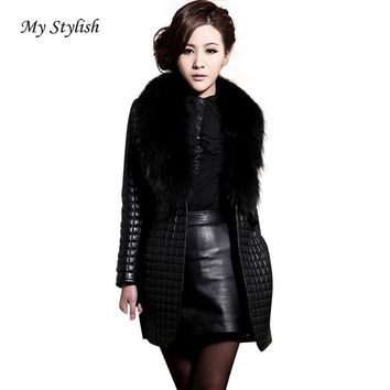 Women Fashion Warm Winter Faux Leather Fur Long Sleeve Coat Jacket Outerwear Long Overcoat Thick Coat Female Coat Stylish Nov 30