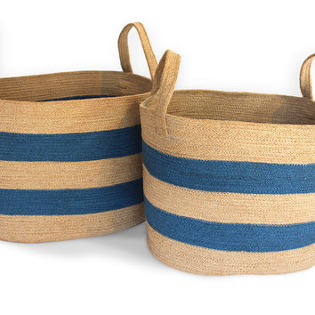 """JUT005-NLBLU: Oval Laundry Tote Basket (set of 2) with loop Handle Material: Size: Large-19.5X14X13"""", Medium-17X12X13"""""""