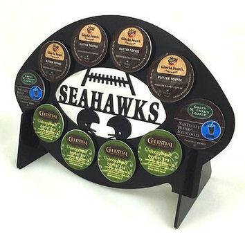 Seattle Seahawks football Black 10 K Cup Dispenser Coffee Keurig K Cup Holder Storage Rack