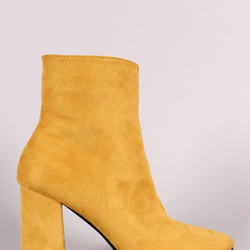 Suede Square Toe Zip-Up Chunky Heel Booties