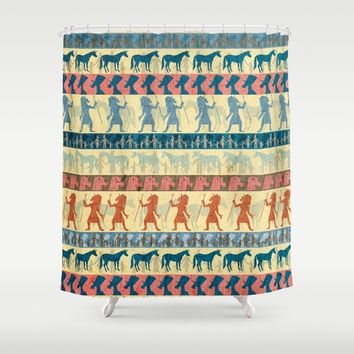 Egyptian Unicorn Pattern Shower Curtain by That's So Unicorny