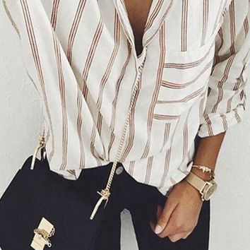White Striped Pockets Single Breasted Peter Pan Collar Oversized Casual Blouse