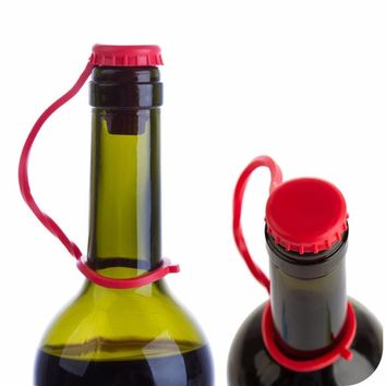 Anti-lost Silicone Hanging Button Wine Plug Bottle Cap Cover Kitchen Tools red/green/blue Drop Shipping Happy Sale ap626
