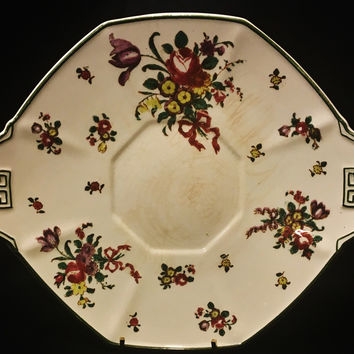 Royal Doulton Double Handle Old Leeds Sprays Octagon MultiFloral Cake Plate