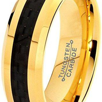 6mm Tungsten Wedding Band Ring Comfort Fit Yellow Gold Plated Plated Black Carbon Fiber Beveled Edge Polished (14k, 18k, 24k)