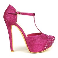 Celeste Sheri-02 T-strap Dress Pump in Fuchsia @ ippolitan.com