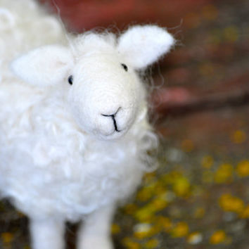 Needle Felted Wool Sheep Sculpture by BearCreekDesign on Etsy